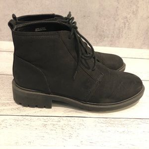 Cathy Jean | Women's Black Suede Combat Booties